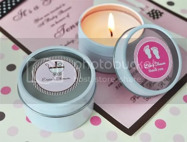 Personalized Round Travel Candle Tine Baby Shower Favor