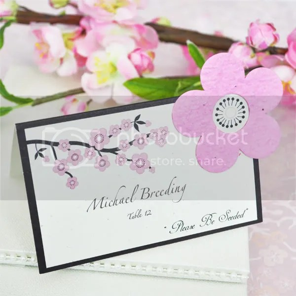 Cherry Blossom Place Card Holder with Plantable Flower - as low as $1.12 each