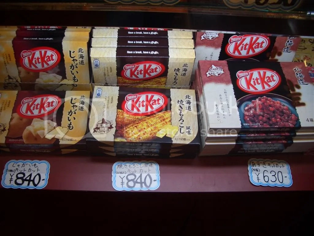 All the Hokkaido flavors lined up together. They dont sell these in individual packs, only in these souvenir packs.