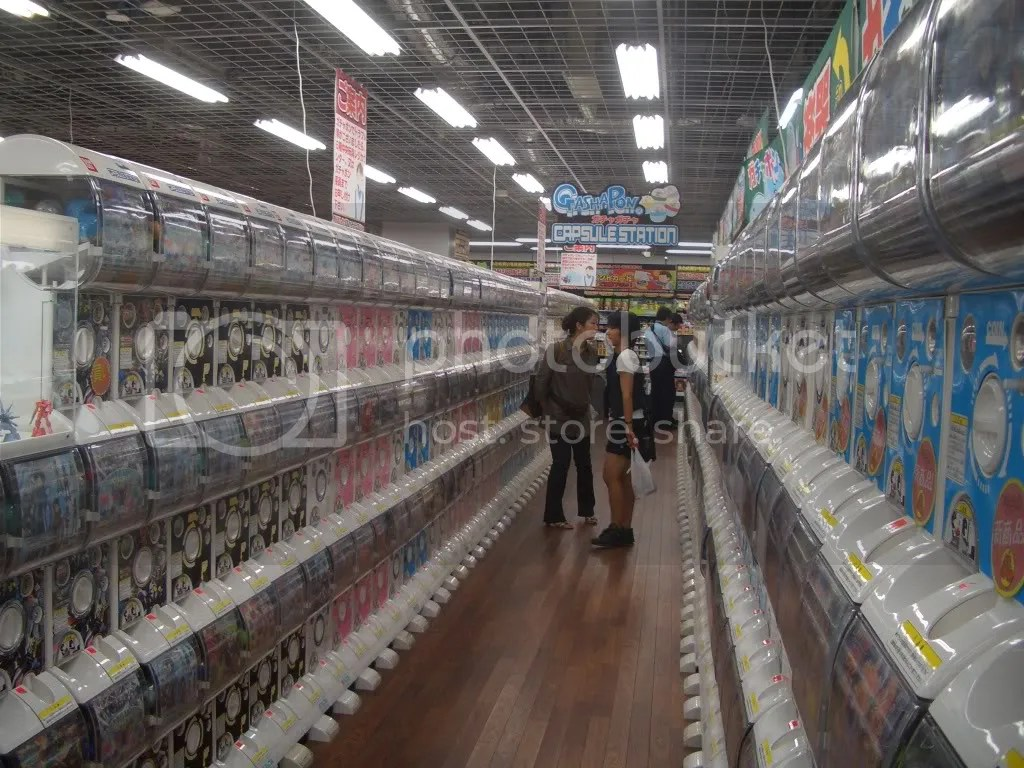 A row of Gatcha Gatcha machines
