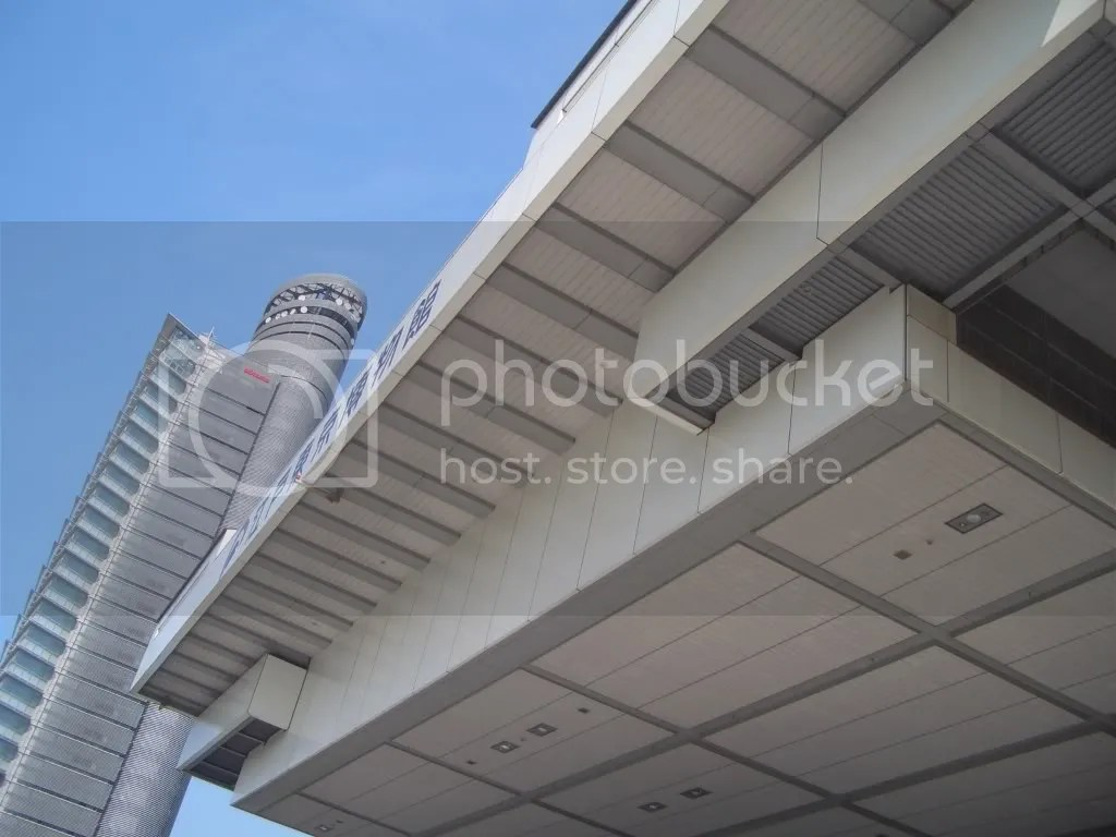 Looking up at the building