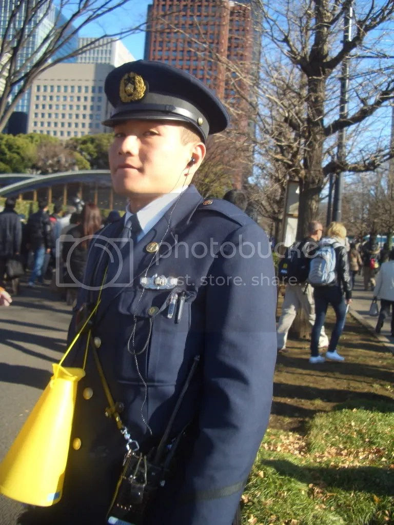 Police officer doing crowd control