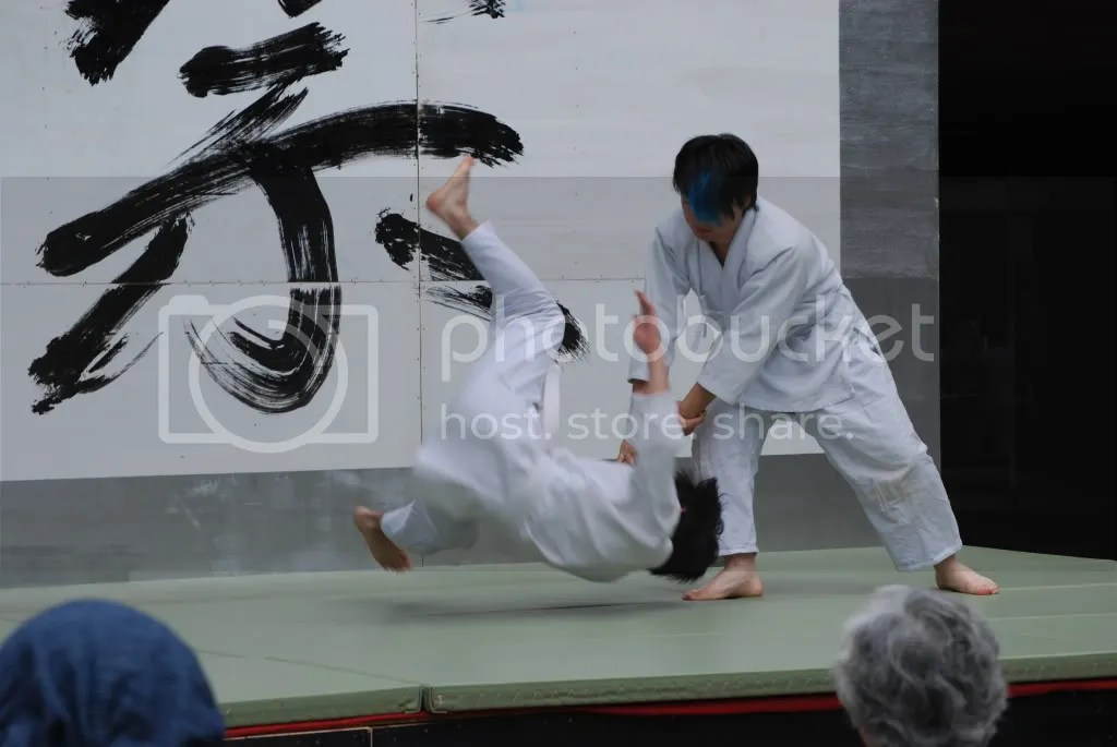 Aikido club exhibition - throwing someone down