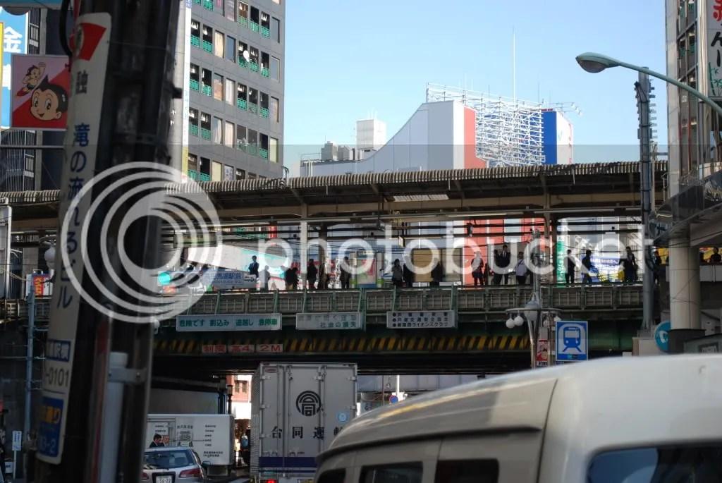 Station platform with the street below
