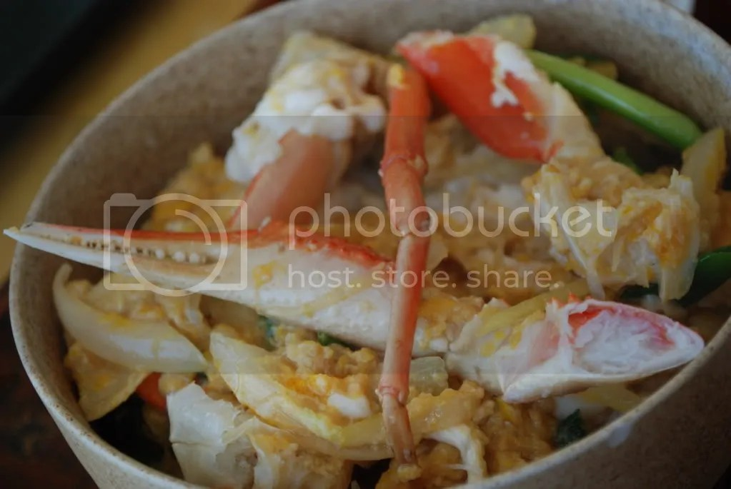 Close up on the Crab over rice.