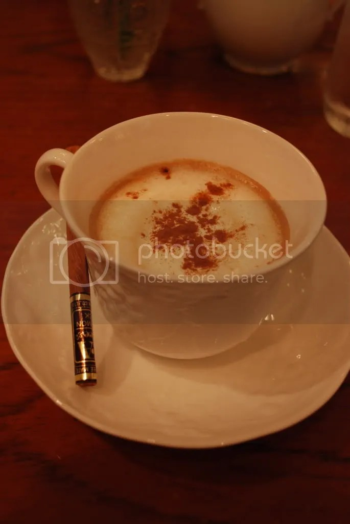 I forget what they called this, but its coffee with whipped cream and cinnamon sprinkled on top. The cinnamon stick is supposed to be used to mix it.