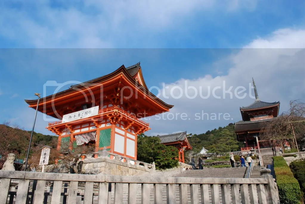You have to walk a good ways up a hill to get to Kiyomizu and this is the first part of the temple grounds that you see