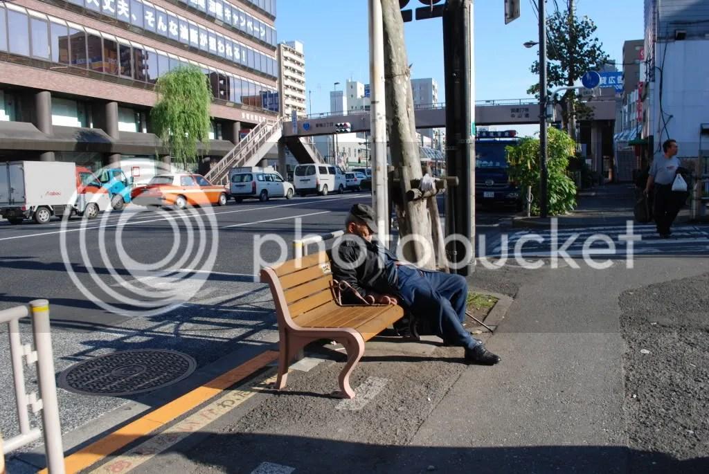 old man asleep on a bench