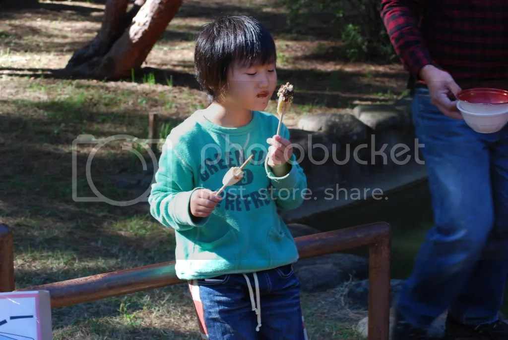 A little kid enjoys his banana covered on chocolate on a stick