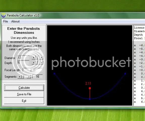 Tinh toán kich thước Parabol bằng Parabola Calculator
