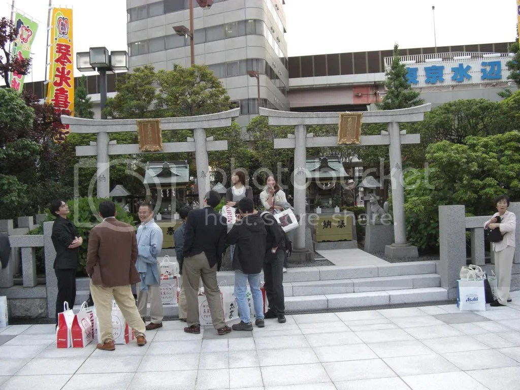 Two small Shinto shrines located in front of the Kokugikan