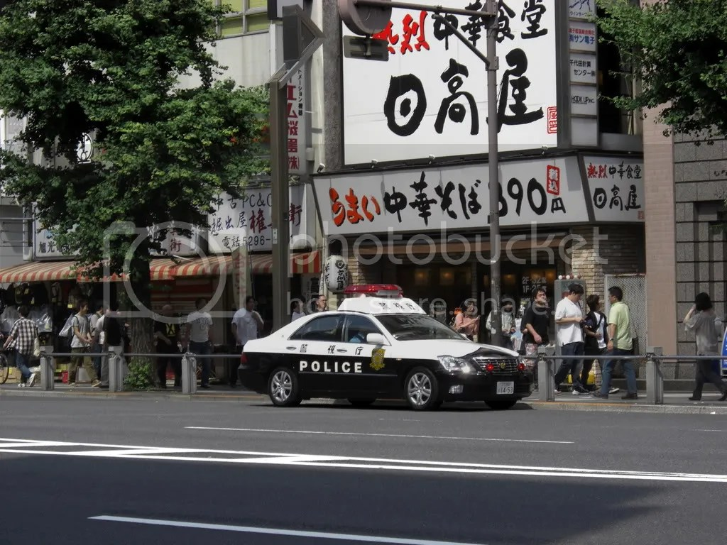 One of many police cars patroling the streets in Akihabara,until now a very uncommon sight...