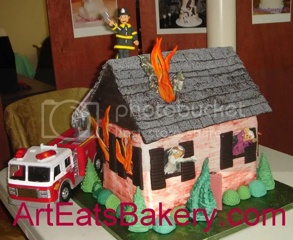 House on fire Groom's cake with sugar figure firefighter