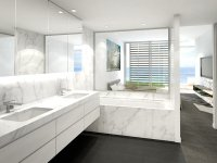 Modern bathroom design with recessed bath using marble ...