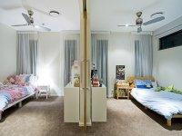 Children's room bedroom design idea with carpet & sliding ...