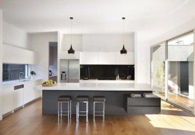Modern Island Kitchen Design Using Marble Kitchen Photo