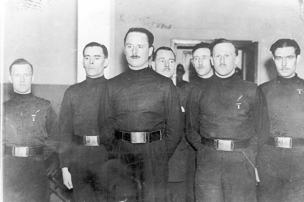 Oswald Moseley (centre) with members of his British Union of Fascists including (left) William Joyce who later became Lord Haw Haw