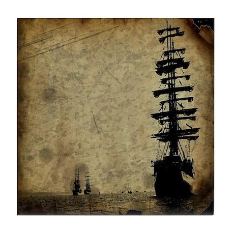 vintage pirate ship landscape tile