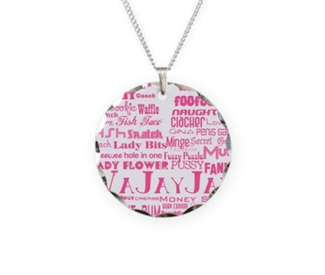 V Is For Vagina Pink Necklace Circle Charm