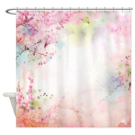 Pink Watercolor Floral Shower Curtain By ShowerCurtainShop