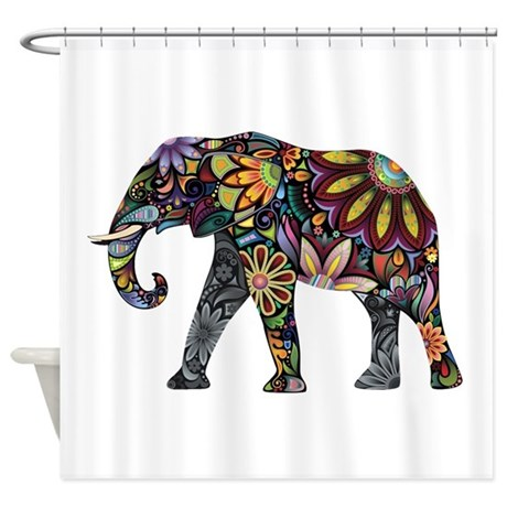 Colorful Elephant Shower Curtain by Goodog