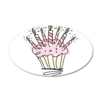 Cupcake with Birthday candles Wall Decal by hqart