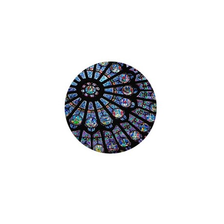 Stained glass window Notre Dame Mini Button by Admin