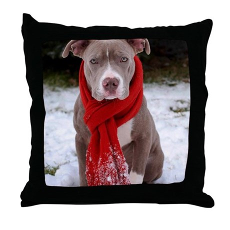 Holiday Pit Bull with Red Scarf Throw Pillow by Admin