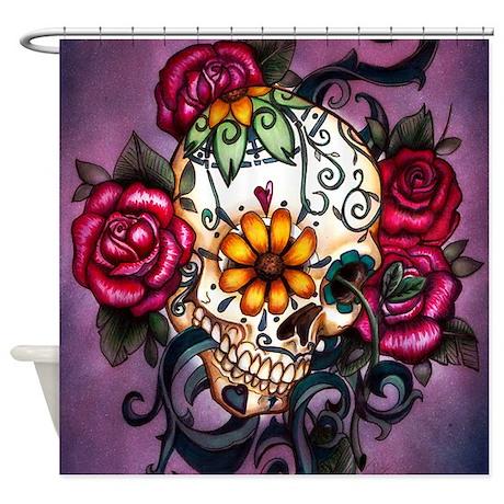 Sugar Skull  Shower Curtain by anniesbohoboutique