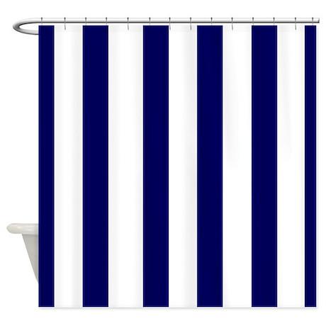 Wallace blue stripe shower curtain