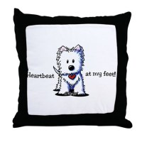 Westie Heartbeat Throw Pillow by kiniart
