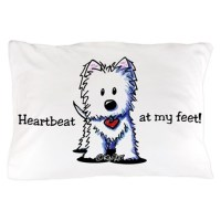 Westie Heartbeat Pillow Case by kiniart