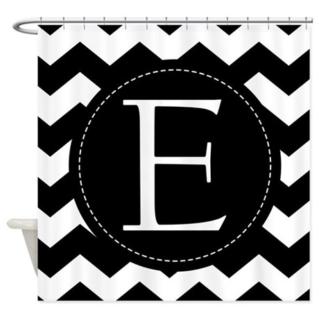 White Shower Curtain Monogram