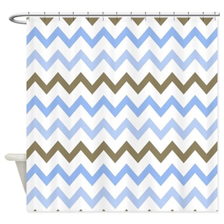 Blue And Brown And White Shower Curtain