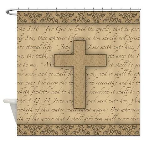 Religious Shower Curtains  Religious Fabric Shower