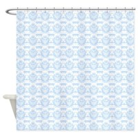 white damask on light blue Shower Curtain by ...