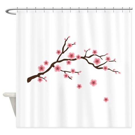 Shower curtains cherry blossom branch fabric shower curtain liner