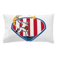 PITCHER USA Pillow Case by LunaAzulStudio