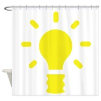 Yellow Light Bulb Shower Curtain by MyFunGraphics