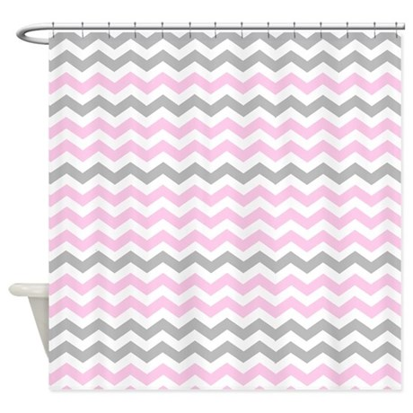 Gray and light pink chevrons Shower Curtain by