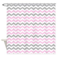 Gray and light pink chevrons Shower Curtain by ...