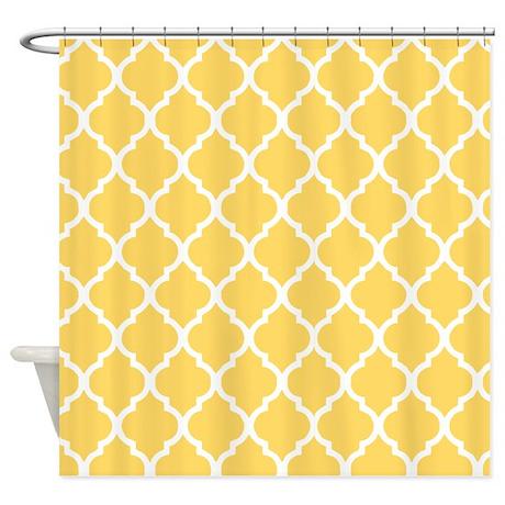 Mustard Yellow Quatrefoil Pattern Shower Curtain By