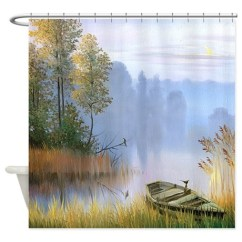 Cafe Kitchen Curtains Faucet Extension Hose Lake Painting Shower Curtain By Bestshowercurtains