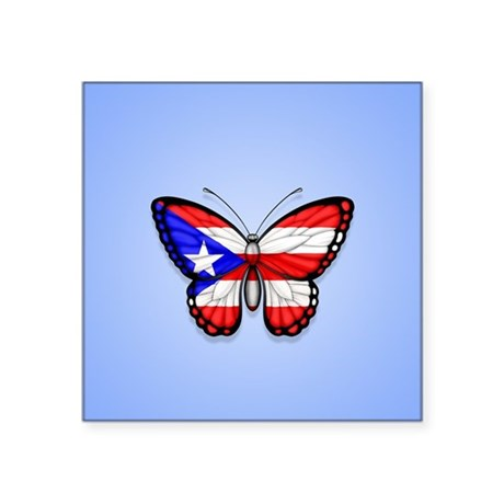 Puerto Rican Flag Butterfly On Blue Sticker By