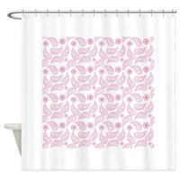 Light Pink and White Paisley Shower Curtain by ClipArtMEGAmart