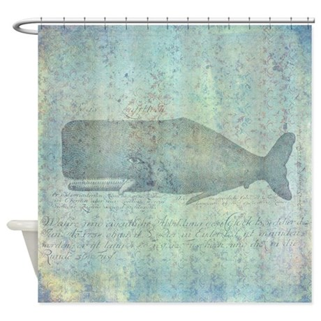 Vintage Whale Shower Curtain