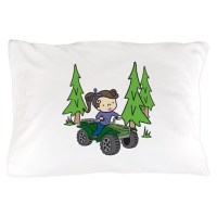 Girl Riding ATV Pillow Case by concord17