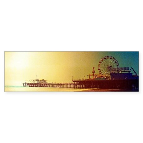 Pier Orange Sunrise Bumper Sticker