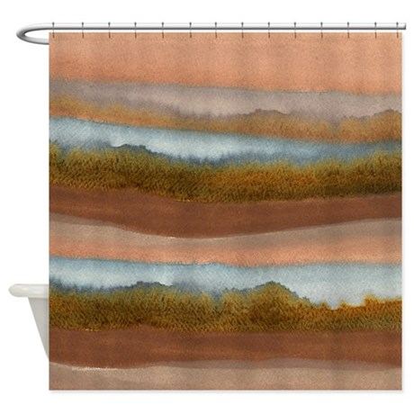 Copper Abstract Shower Curtain by McLaughlinWatercolor