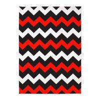 Black Red And White Chevron 5'x7'Area Rug by BeautifulBed